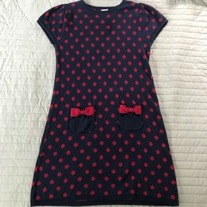 Gymboree blue and red polka dotted dress size 9